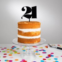 Personalised Elegant Age Cake Topper, White/Glitter/Silver