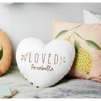 Personalised Loved Floral Heart Nursery Cushion