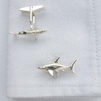 Shark Cufflinks In Sterling Silver, Silver