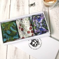 Set Of Three Silk Pocket Square Handkerchiefs