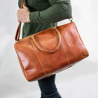 Personalised Buffalo Leather Cortes Compact Holdall