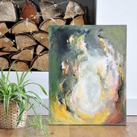 'Coffee By The Fire' Original Abstract Painting Earthy