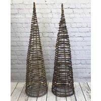 Set Of Two Willow Twist Spiral Garden Obelisks