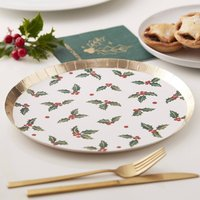 Gold Foiled Holly Leaf Christmas Paper Plate
