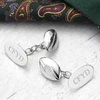 Rugby Ball Cufflinks Solid Silver, Silver