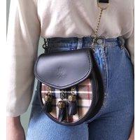 Personalised Black Leather And Beige Tartan Bag