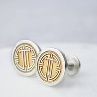 Sterling Silver And Gold Medallion Monogram Cufflinks, Silver
