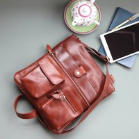 Amy Leather Cross Body Messenger Bag With Pockets