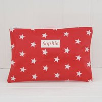 Personalised Oilcloth Wipe Clean Make Up Bag, Red/White/Pale Blue
