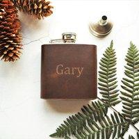 Custom Name Leather Hip Flask