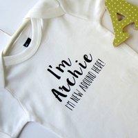 Personalised New Around Here Baby Vest, Black/Pink