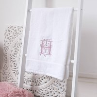 Personalised White Cotton Monogram Hand Towel, Gold/Silver/Baby Blue