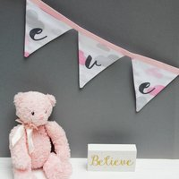 Personalised Baby Gift Pink Clouds Bunting, Pink