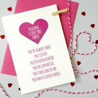 Personalised Reasons I Love You Anniversary Card