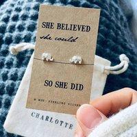 Silver Elephant Stud Earrings, Silver