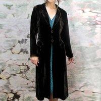Chocolate Silk Velvet 1940s Style Coat