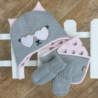 Knitted Cat Gift Set Hat Bib And Gloves Pink And Grey