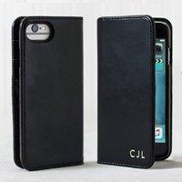 Luxury Black Leather Personalised iPhone Case, Black