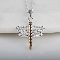 Solid Silver And 14ct Rose Gold Dragonfly Pendant, Silver
