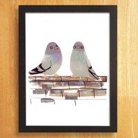 Pigeons In Love Giclee Print