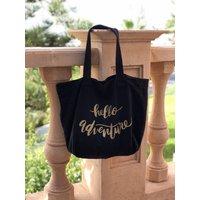 Hello Adventure Glitter Tote Bag