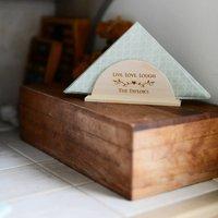 Personalised Wooden Napkin Coaster Holder