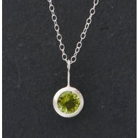 Peridot Pendant Necklace In Silver, Silver