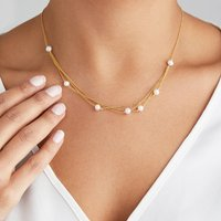 Rose, Silver Or Gold Layered Pearl Necklace, Silver