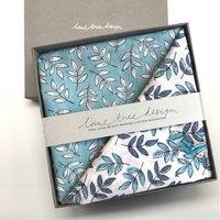 Box Of Two Block Printed Bandanas Blue Aqua Leaves