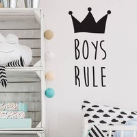 Girls Or Boys Rule Wall Stickers, Black/White/Silver