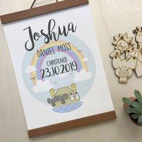 Personalised Noah's Ark Christening Day Print