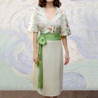 Wrap Dress In Meadow Flower Ivory Crepe