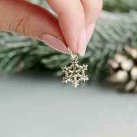 Snowflake Fine Solid Gold Charm Pendant, Gold