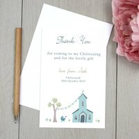 Personalised Christening Thank You Cards, Blue/Pink/Green