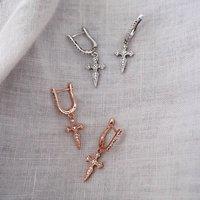 Gemstone Cross Drop Earrings