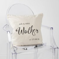 Personalised Mr And Mrs Established Cushion Cover