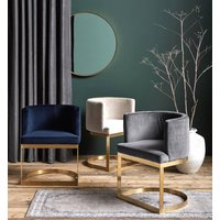 Gold, Brass Framed Velvet Chair