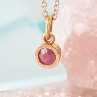 Rose Gold Ruby Birthstone Necklace, Gold