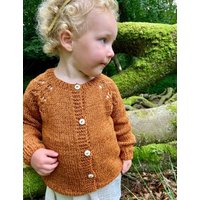 The Kids Hand Knitted Chestnut Eyelet Cardigan