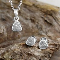 Silver Rough Diamond Birthstone Jewellery Gift Set, Silver
