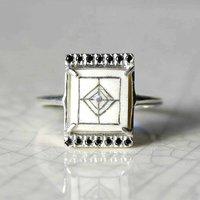 Sami Reindeer Antler And Black Diamond Rectangle Ring