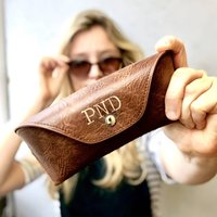 Personalised Brown Glasses Case