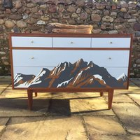 Mid Century Formica Alpine Design Chest Of Drawers