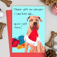 Funny Dog Christmas Card There Was An Intruder