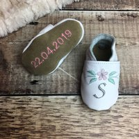Personalised Embroidered Flower Baby Shoes