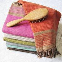 Luxury Carnac Large And Guest Bathroom Hamam Towel, Green/Chocolate/Orange