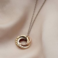 9ct Mixed Gold Diamond Mini Russian Ring Necklace, Gold