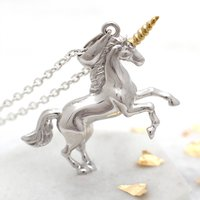 18ct Gold And Sterling Silver Unicorn Necklace, Silver