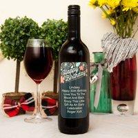 Personalised Wine With Retro Happy Birthday Label