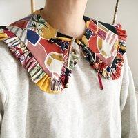 Retro Print Cotton Detachable Collar With Frill